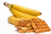 Waffles and bananas — Stock Photo