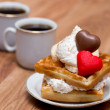 Waffles and coffee — Stock Photo