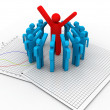 3d character man leader and team members — Stock Photo #21549565
