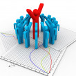 3d character man leader and team members — Stock Photo #21549583