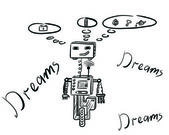 The dreaming robot — Stock Vector