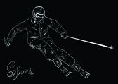 Skier sketchŒ — Stock Vector