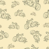 Seamless texture with motorcycles — 图库矢量图片