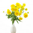 Rudbeckia flowers in vase iosolated on white — Stock Photo