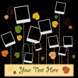 Family album on autumn floral tree with photos — Stock vektor