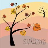 Paisagem de outono com árvores, ilustração vetorial — Vetorial Stock