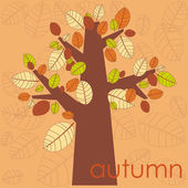 Autumn tree on natural backgroun — Stock Vector