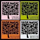 Colorful Season Trees on black background, illustration — Stock Vector