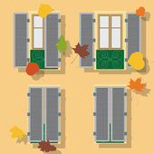 Open and clothe windows on wall, vector illustration. autumn bac — Stock Vector