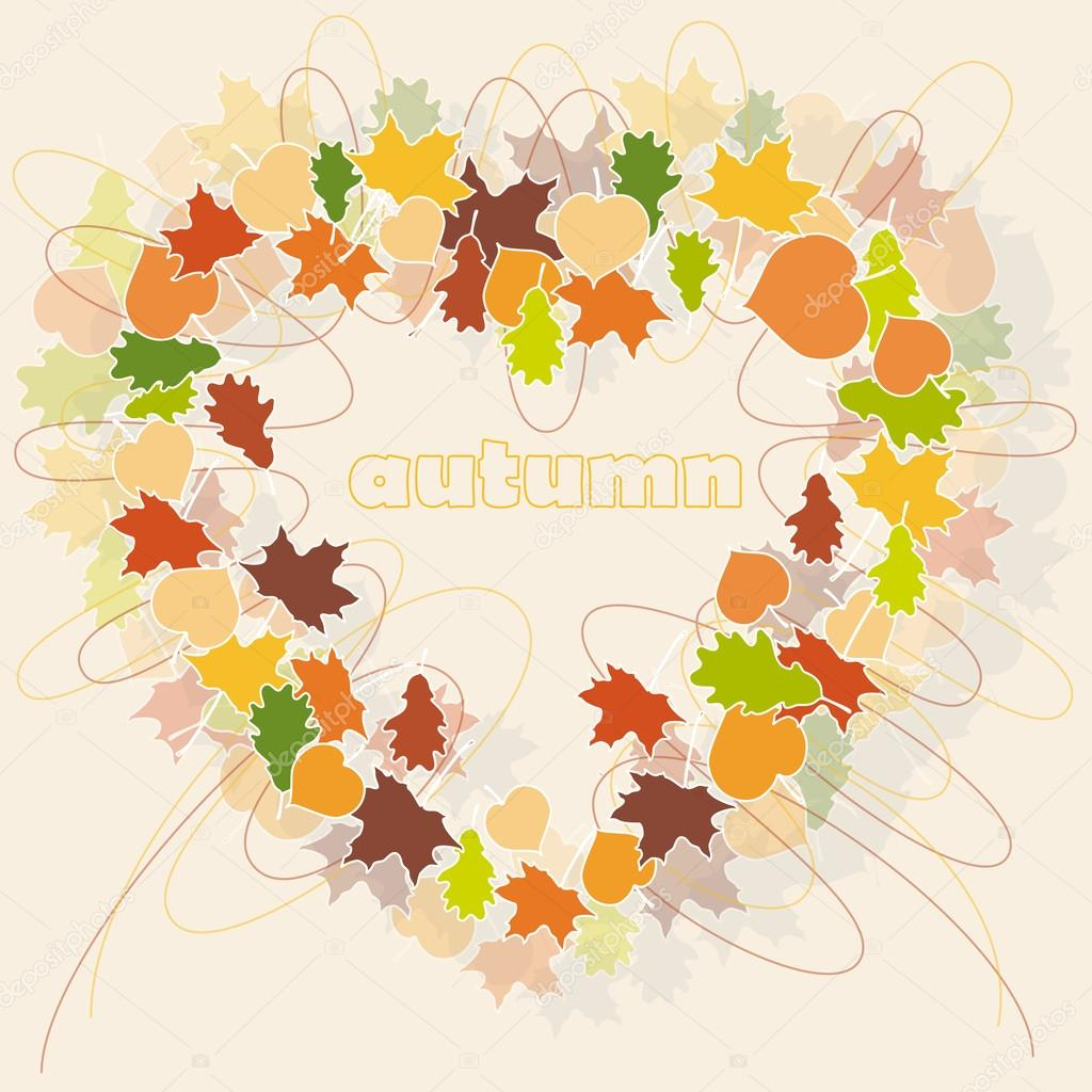 Heart shape from color autumn leaves  — Stock Vector #13173280