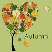 árbol de otoño sobre fondo natural — Vector de stock