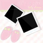 Baby girl shower with photos and booties — Stock Vector