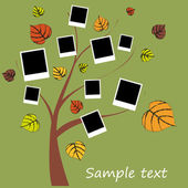 Family album on autumn tree with photos — Stock Vector