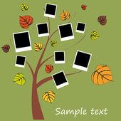 Family album on autumn tree with photos — Stock Vector