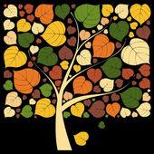 Beautiful Autumn Tree on black background — Stock Vector