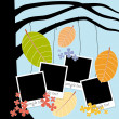 Family album with photos hanging on autumn tree — Stock Vector
