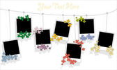 Photo blanks and flowers on a rope isolated — Stock Vector