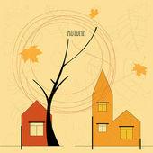 Otoño ciudad con casas y árboles — Vector de stock