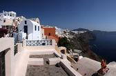 White and blue landscape of island Santorini, Greece — Stock Photo