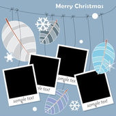Family album with photos hanging on winter tree — Stock Vector