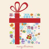 与雪花和小礼品圣诞礼品盒 — 图库矢量图片