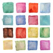水彩正方形パッチまたは白で隔離されるボタン — ストック写真