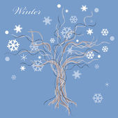 Winter tree with snow leaves — Stock Vector