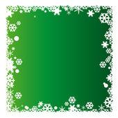 Green Christmas background with snowflakes — Stockvektor