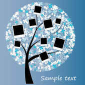 Family album on winter tree with photos — Stock Vector