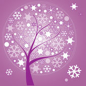 Abstract winter tree with snowflakes of leaves on pirple backgro — Stock Vector