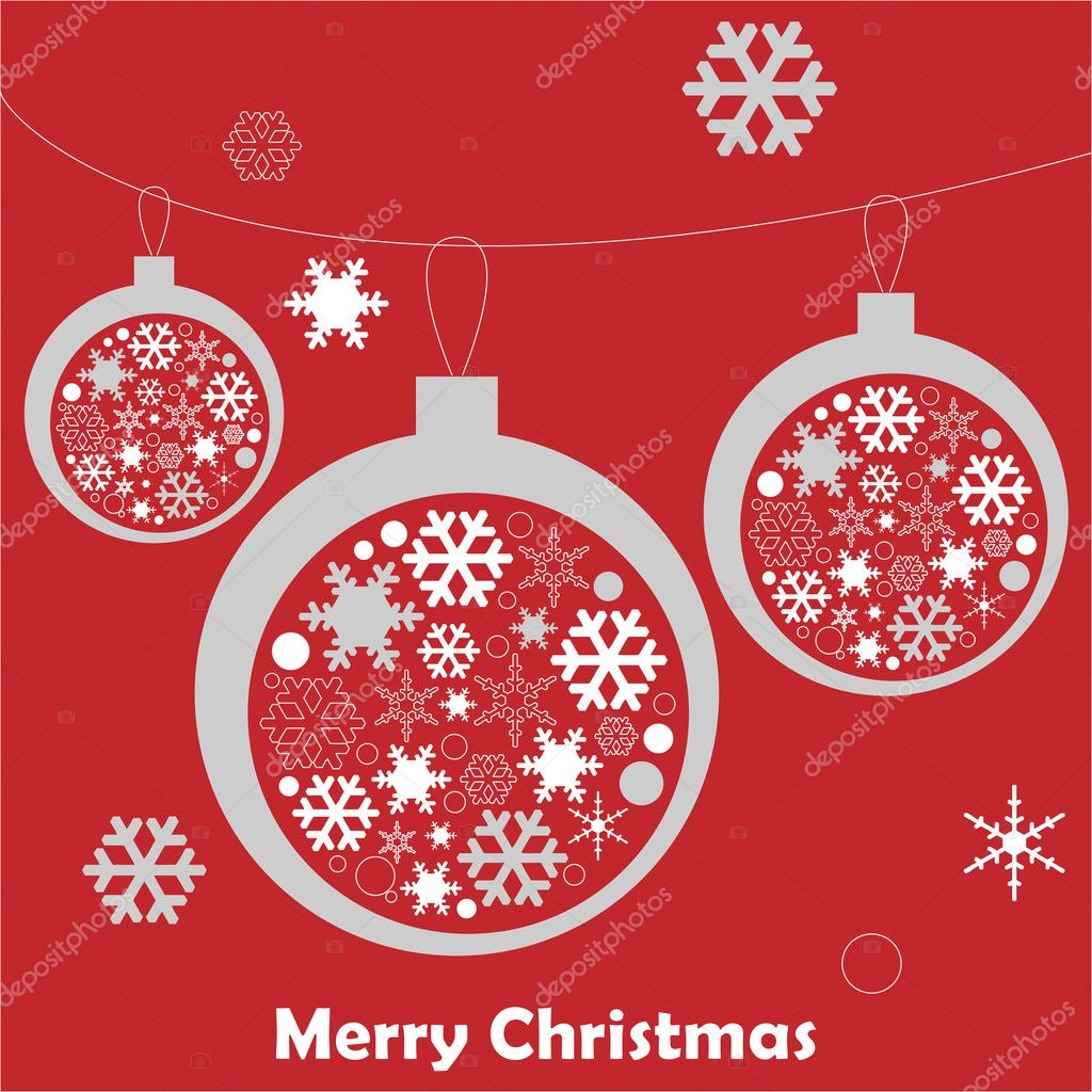 Christmas card with Christmas balls and snowflake — Imagen vectorial #17151385