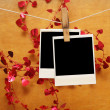 Old photos hang on clothespin on christmas background — Stock Photo