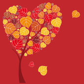 Valentine tree with hearts and leaves — Stock Vector