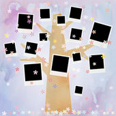 Family album on floral tree with photos — Stock Photo