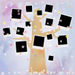 Family album on floral tree with photos - Stock Photo