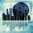 Abstract background with silhouette of city and moon - Stock Photo