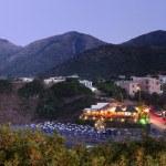 Illumination near beach hotel, night Crete, Greece — Stock Photo