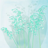 Spring background with lily of valley flowers. Vector background — Stock Photo