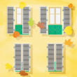 Open and clothe windows on wall, vector illustration. autumn bac — Stock Photo