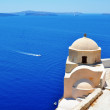Santorini - caldera view with old church — Stock Photo