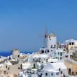 Panorama of Oia at the greek island of Santorini — Stock Photo