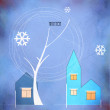 Christmas Cards with houses and tree — Foto Stock