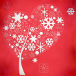 Abstract winter tree with snowflakes and gifts on red background — Stock Photo