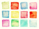 Watercolor square patches or buttons isolated on white — Stock Photo