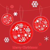 Christmas card with Christmas balls and snowflake — Stock Vector