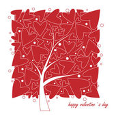 Cards for Valentine's Day. Love tree on white background — Stock Vector