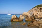 Beach with rocks in Crete, Greece  — Foto Stock