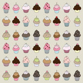 Muffins and cupcakes with different fillings — Stock Vector