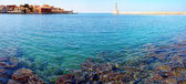 Panorama with light house in Chania, Crete (Greece)  — Stok fotoğraf