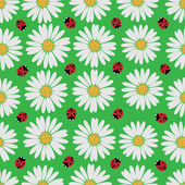 Seamless pattern with daisies and a ladybirds  — Stock Vector